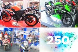 Dari kiri atas searah jarum jam: Honda CBR250R, Kawasaki Ninja RR Mono, dan Yamaha YZF R250
