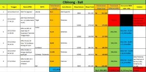 Rute Cibinong - Bali kami tempuh sejauh 1.459,3 km. Total bensin yang digunakan 132 liter, dan konsumsi BBM rata - rata 16,239 km/liter.