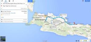 Jarak Bojong Gede ke Tegal berdasarkan Google Map. Khusus rute ini lupa dicatat soalnya...:)