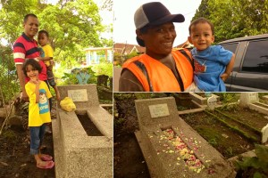 Kiri: Kakak Oka, Rasy dan ayah; Atas: Keanu dan bapak juru parkir di bakso President, Bawah: Makam Mbak Kakung.