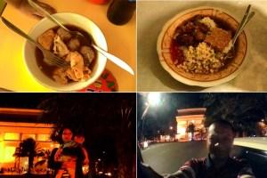 Searah jarum jam dari atas ke bawah: Bakso President, Rawon Pasar Samaan, aku, Bunda dan Keanu di Kediri.